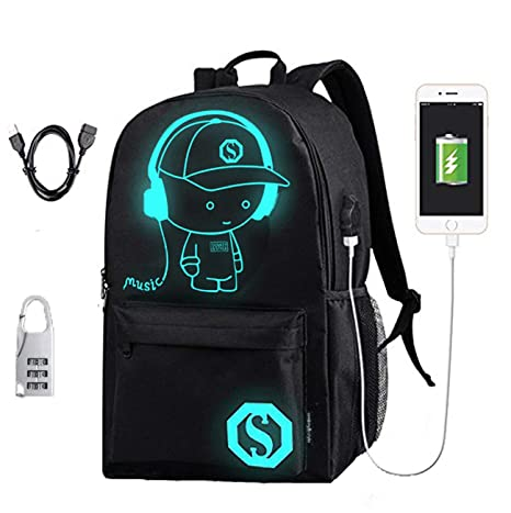 977b518c7484 Amazon.com: Laptop Backpack Anti-Theft College Backpack with USB Charging  Port Luminous Backpack Travel Backpack Casual Daypack for Womens and Mens:  ...
