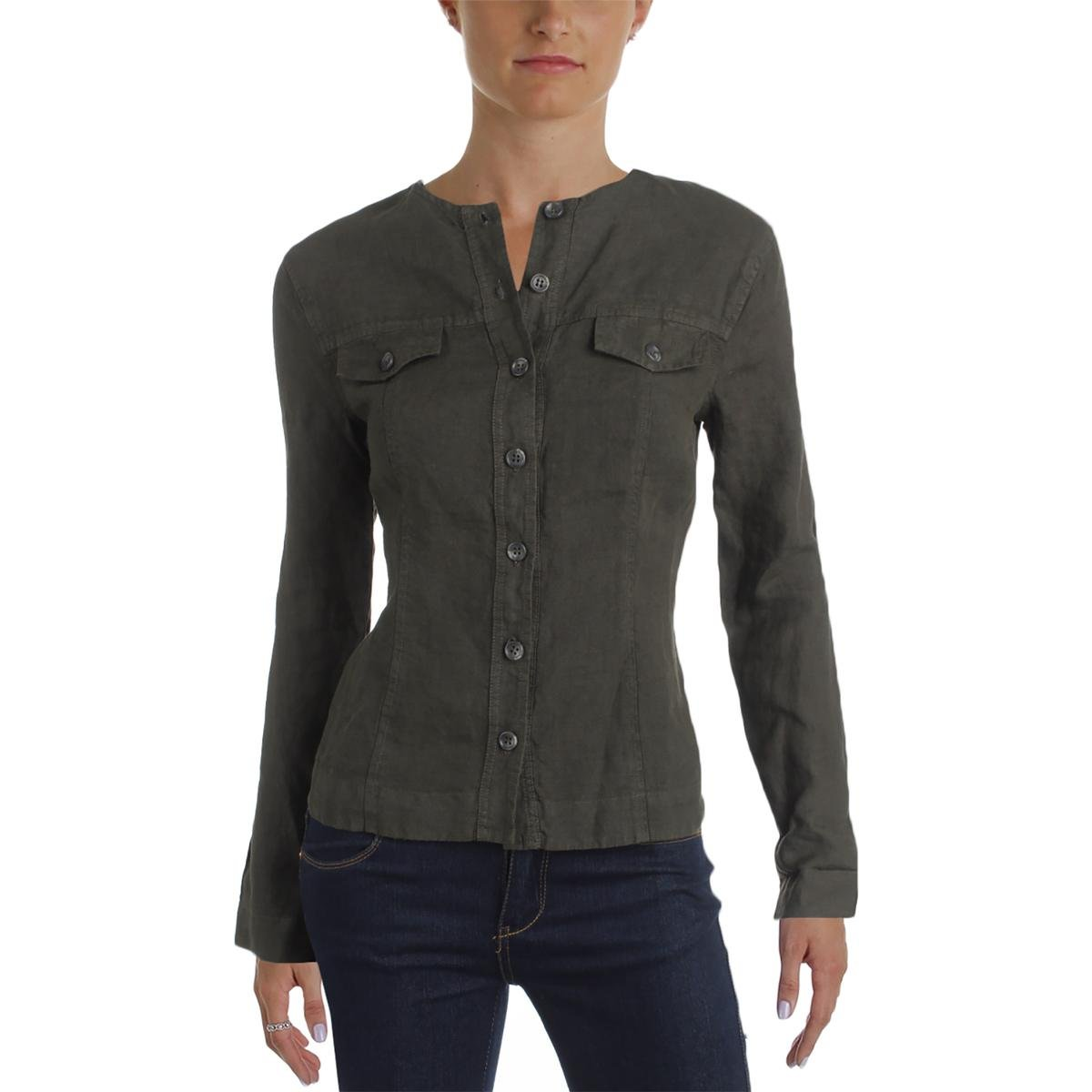 Three Dots Womens Linen Button-up Jacket Green XS by Three Dots (Image #1)
