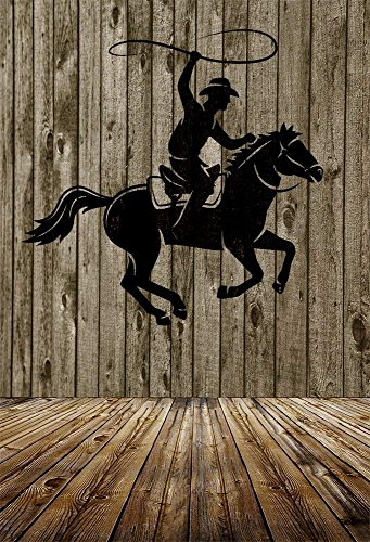 AOFOTO 5x7ft Equestrian Warriors Painting on Vintage Wooden Board Backdrop Wild West Style Photography Background Western Rustic Horse Racing Photo Studio Props Cowboy Kid Portrait Vinyl Wallpaper