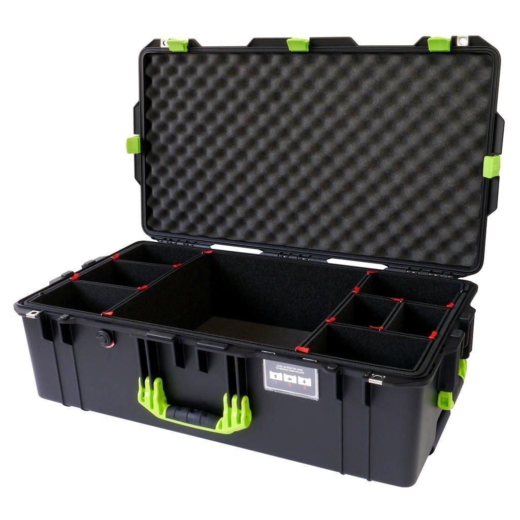 ブラックwithライムグリーンハンドル&ラッチPelican 1615ケース。With trekpakディバイダー。With Wheels。 B072FH9JXP