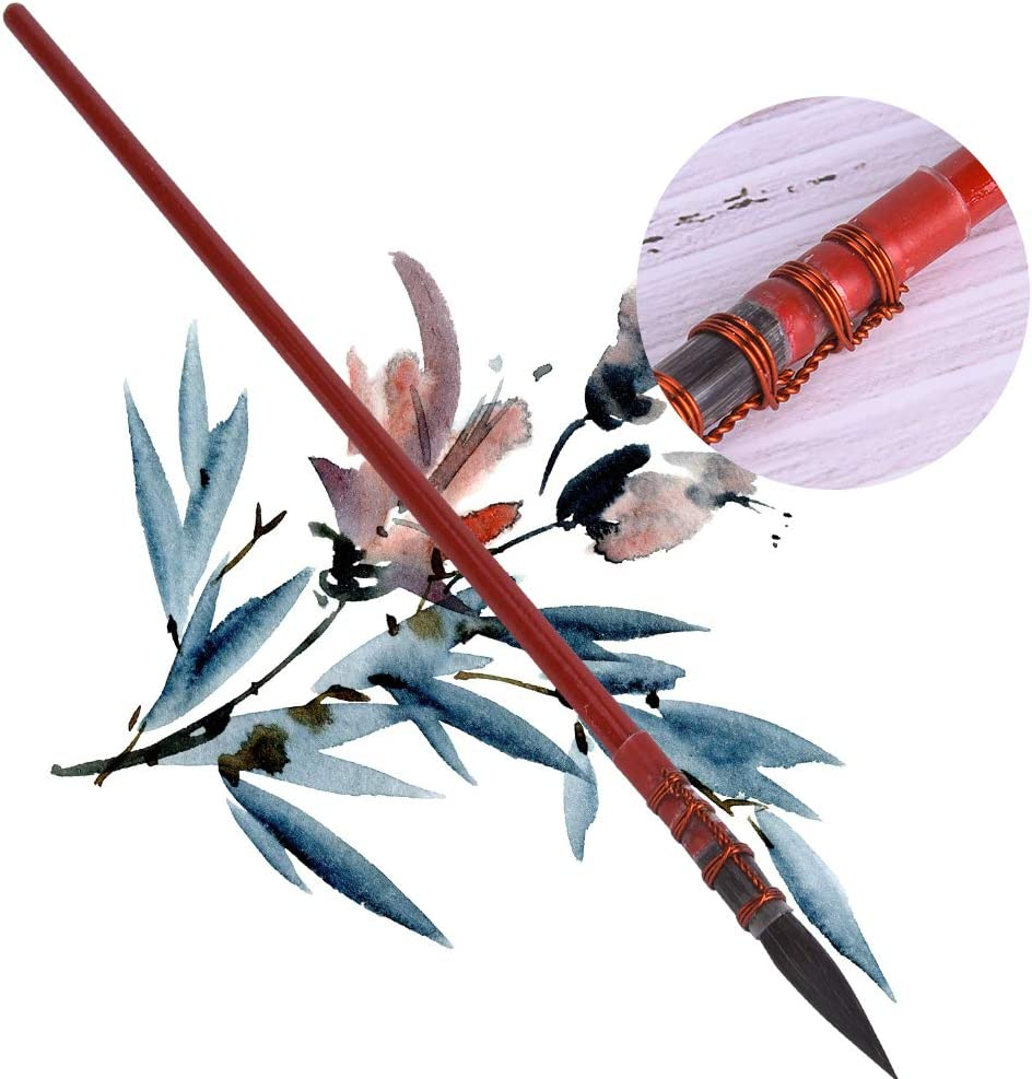 Pincel de pintura de 1 pieza punta redonda trapeador estilo pincel gouache acuarela dibujo pluma arte suministros Rojo 1#