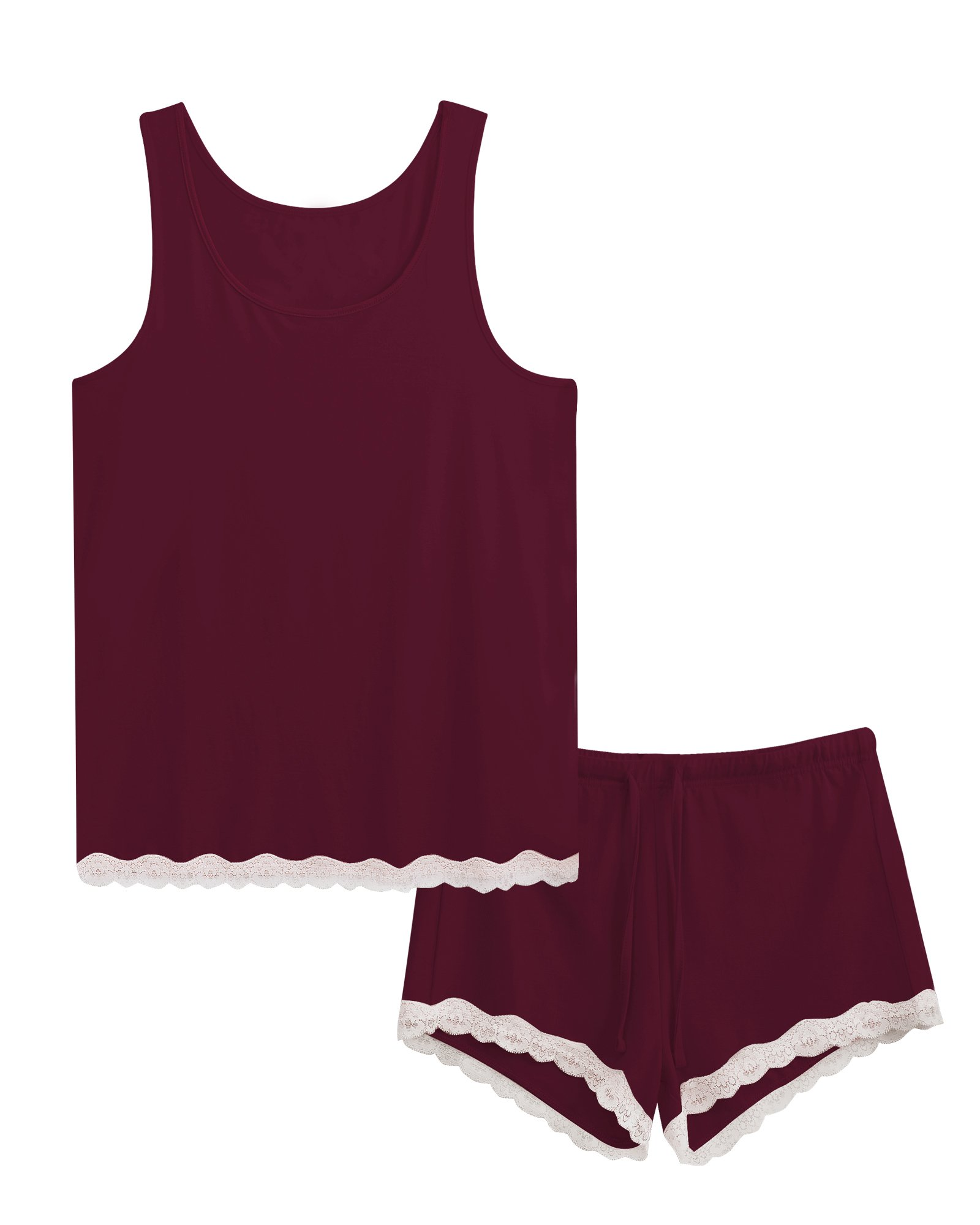 GYS Women's Bamboo Pajama Tank and Shorts Set (M, Carmine)