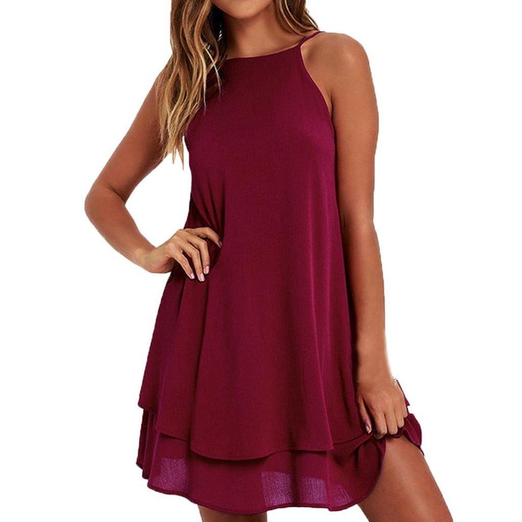 Women Loose Mini Dress, Changeshopping Solid Strappy Summer Beach Dress