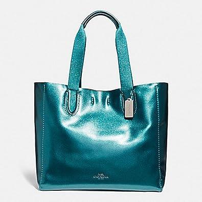 b2358ab83 COACH LARGE DERBY TOTE F59388, BLACK ANTIQUE NICKEL/METALLIC DARK TEAL:  Amazon.co.uk: Shoes & Bags