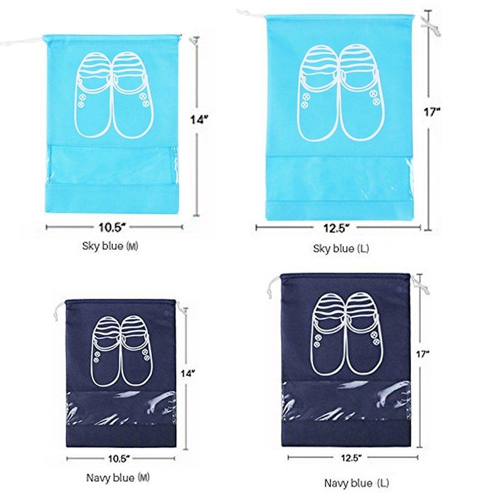 Sacchetti da viaggio per scarpe, salvaspazio (confezione da 5) M Navy blu