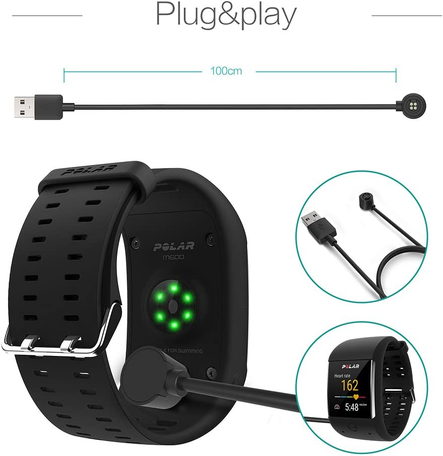 TUSITA Charger for Polar M600,Loop 1,Loop 2 Sports Watch - USB Charging Cable 100cm - Polar Smartwatch Accessories