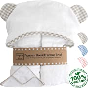 Premium Hooded Baby Towel and Washcloth Gift Set - Large Organic Baby Towels and Washcloths - Bamboo Baby Towel with Hood - Hypoallergenic Toddler Towels for Boys or Girls (Beige/White)