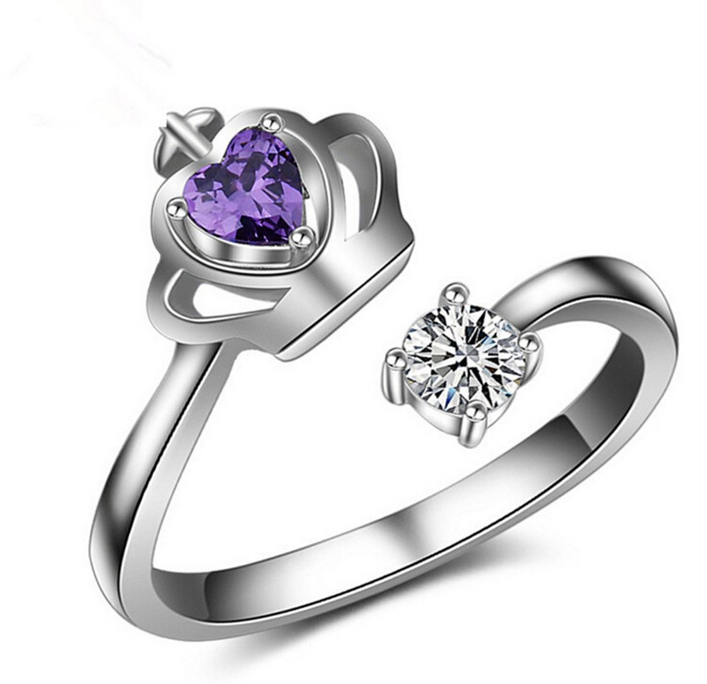 Lumanuby 1Pcs Crown Rings Fashion Open Ring White And Purple Diamond Crystal Rings Princess Womens Jewelry Christmas Valentines Day Birthday Wedding Gift