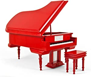 Sophisticated 18 Note Miniature Musical Hi - Many Songs to Choose - Gloss Fire Engine Red Grand Piano with Bench Hark! The Herald Angels Sing