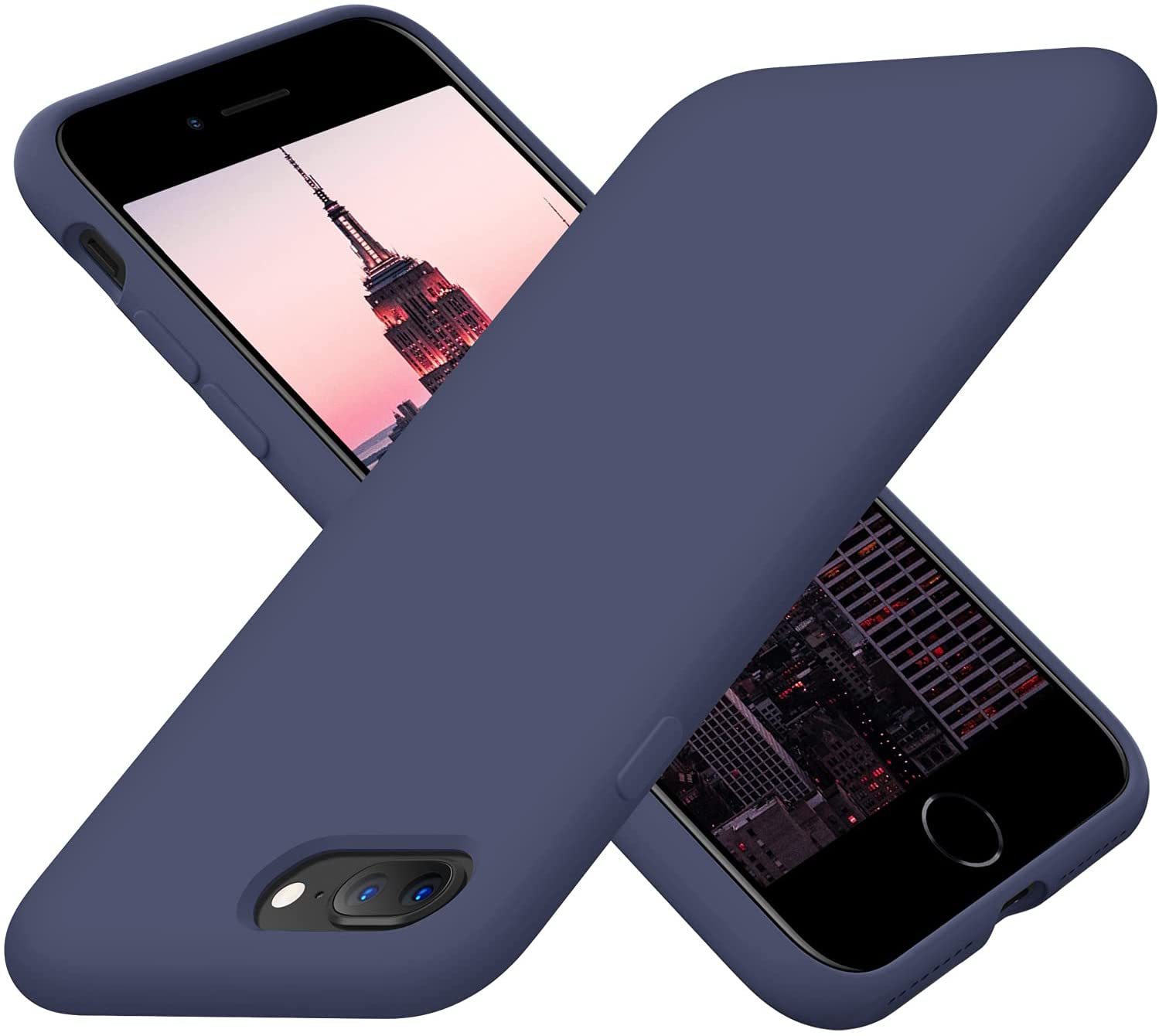 Cordking iPhone 8 Plus Phone Case, iPhone 7 Plus Case, Silicone Ultra Slim Shockproof Phone Cover with [Soft Anti-Scratch Microfiber Lining], 5.5 inch, Navy Blue