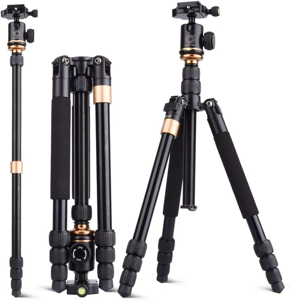for Travel and Work Oureong Camera Tripod Camera Portable Tripod Aluminum Alloy Tripod Ball Head and Spare 1//4 Quick Release Plate for for Travel for DSLR Canon Nikon Sony Camera Black Q999S