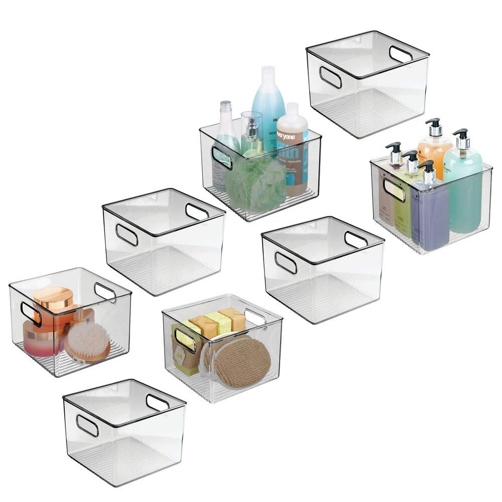 mDesign Plastic Bathroom Storage Bin with Handles - Holds Hand Soaps, Body Wash, Shampoos, Lotion, Conditioners, Hand Towels, Hair Accessories, Body Spray, Mouthwash - 8'' Square, 8 Pack - Smoke Gray by mDesign