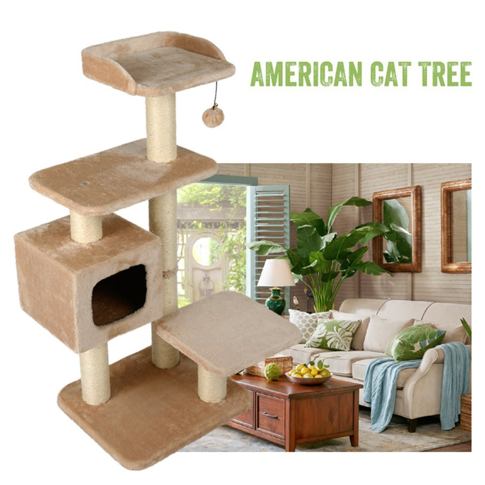 Beige L&XY Cat Tree Apartment Furniture Caterpillar Activity Tower Multi-Platform Catch Cat Post Tree Steady And Secure Safety Green Play Scratch Pet Toy,Beige