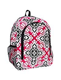 Ever Moda Cross Paisley Damask Girls School Backpack Black Pink