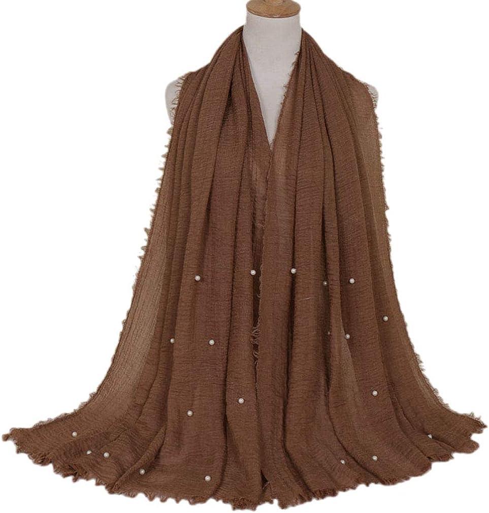 LMVERNA Women Crinkle Cloud Hijab Scarf Pleated Scarves Pearls Fashion Long Wrap Scarf