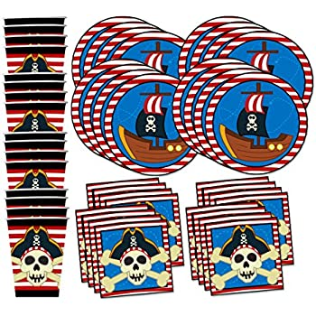 Pirate Ship Birthday Party Supplies Set Plates Napkins Cups Tableware Kit for 16 by Birthday Galore  sc 1 st  Amazon.com & Amazon.com: Pirate Ship Birthday Party Supplies Set Plates Napkins ...