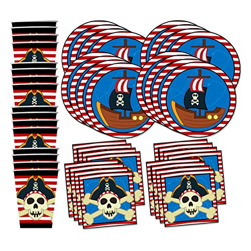 Pirate Ship Birthday Party Supplies Set Plates Napkins Cups Tableware Kit for 16 by Birthday Galore -