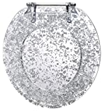 Ginsey Standard Resin Toilet Seat with Chrome Hinges, Silver Foil