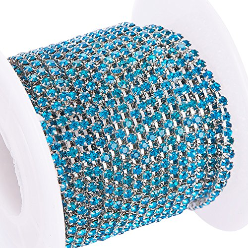(BENECREAT 10 Yard Crystal Rhinestone Close Chain Clear Trimming Claw Chain Sewing Craft About 2880pcs Rhinestones, 2mm - Blue (Silver Bottom) )