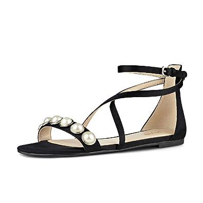 39d6e9054da8 XYD Women Criss Cross Ankle Strap Sandal Flats Open Toe Buckles Dress Shoes  with Beads Size