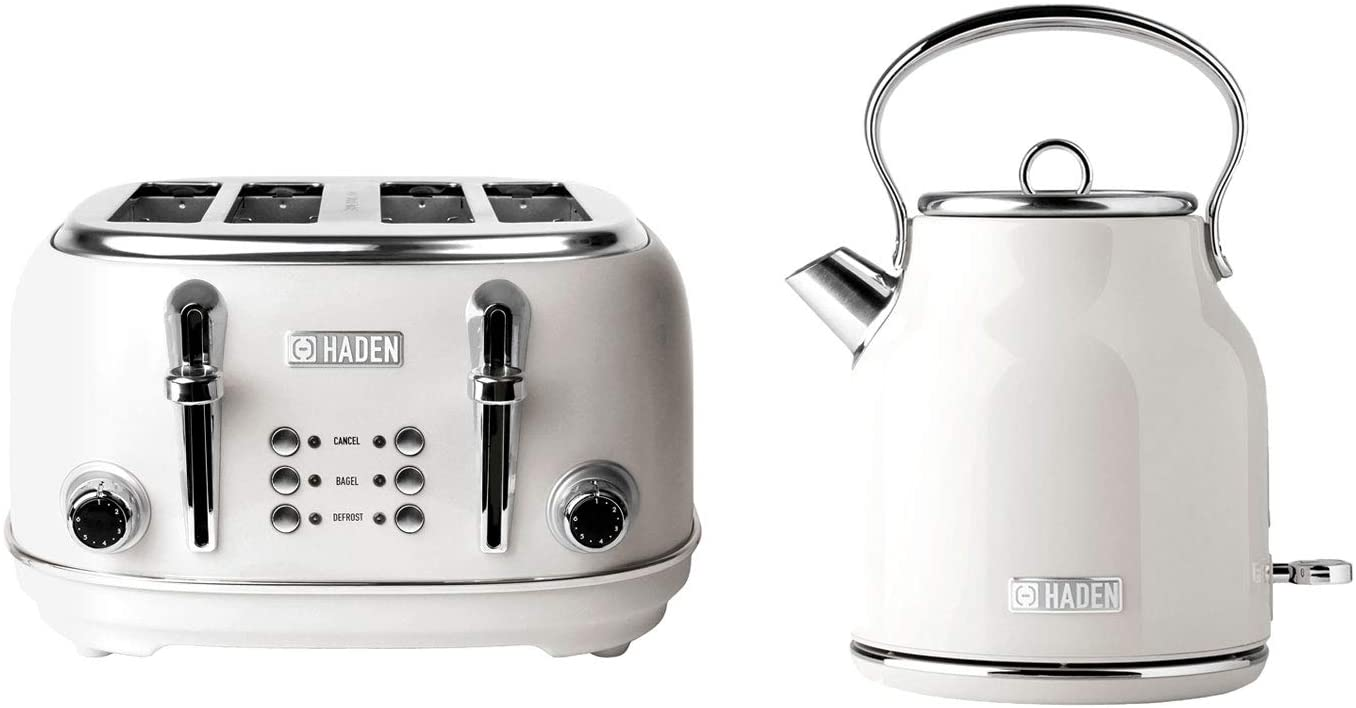 Haden Heritage 75012 1.7 Liter Stainless Steel Body Retro Electric Tea Kettle, White and Haden Heritage 75013 4 Slice Wide Slot Stainless Steel Retro Toaster, White