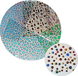 Fancy 100% Patterned Thin Dichroic On Clear Glass Pieces and Bonus Marbled Frit Ball Set - 90COE