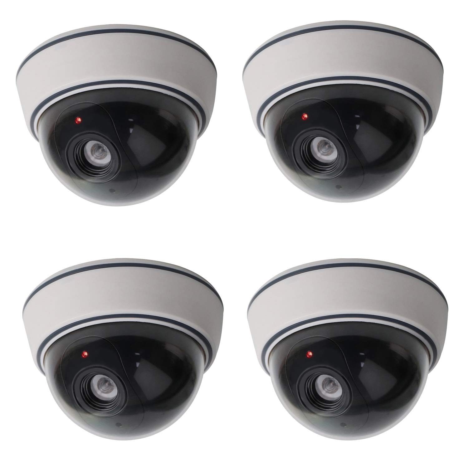 Lebote (4 Pack) Fake Dummy Security Camera CCTV Dome Camera with Flashing Red LED Light Dummy Surveillance Camera Outdoor Indoor Use for Home Security by Lebote Tec