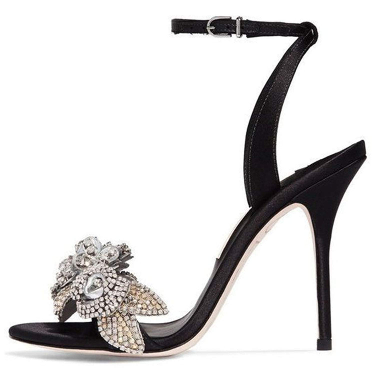 20 Metal Crystal Flower Women shoes Round Toe Solid shoes Slim Shallow Sexy Narrow Buckle Thin High Sandals