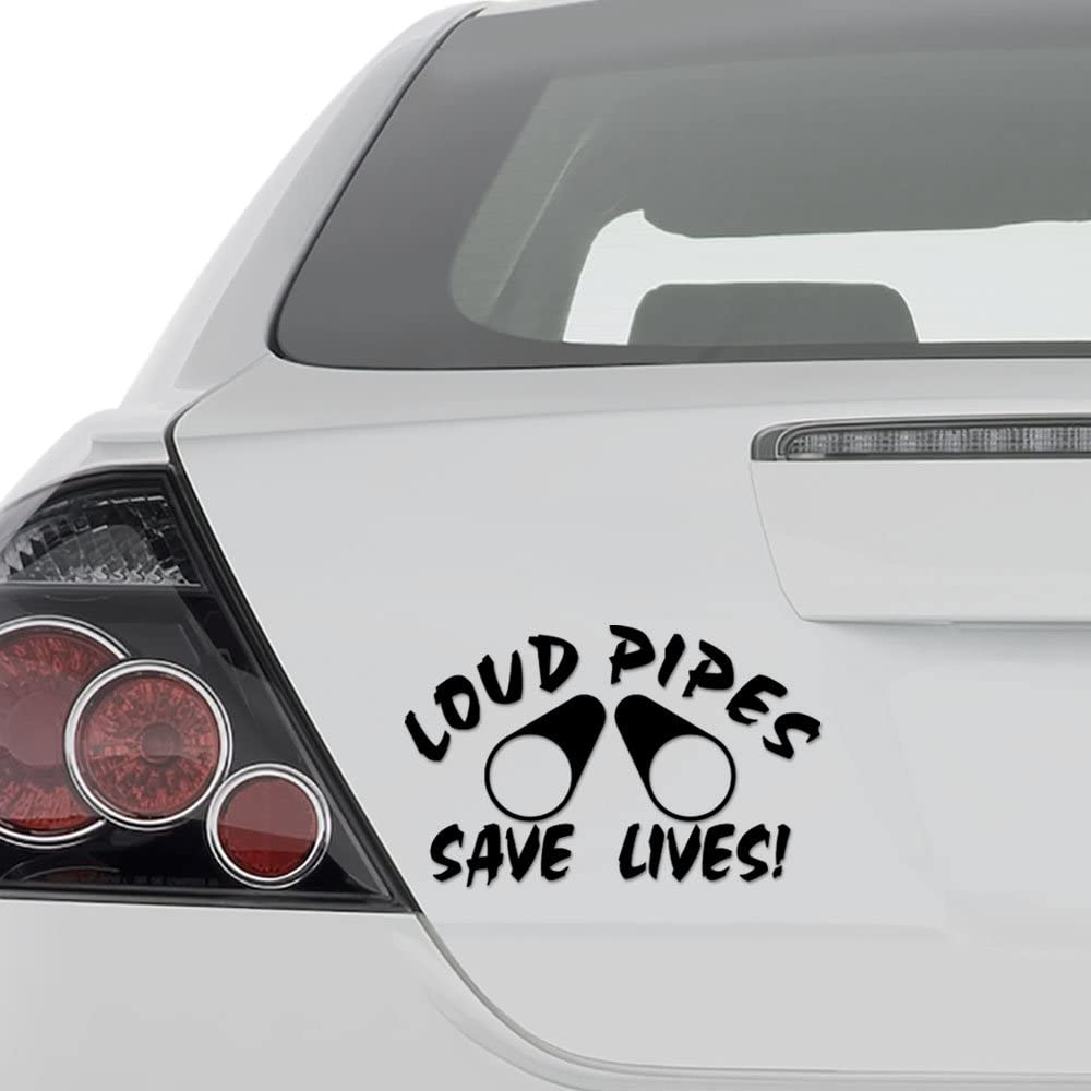 Funny Sticker Car Window Motorcycle Truck Vinyl Decal LOUD PIPES SAVE LIVES