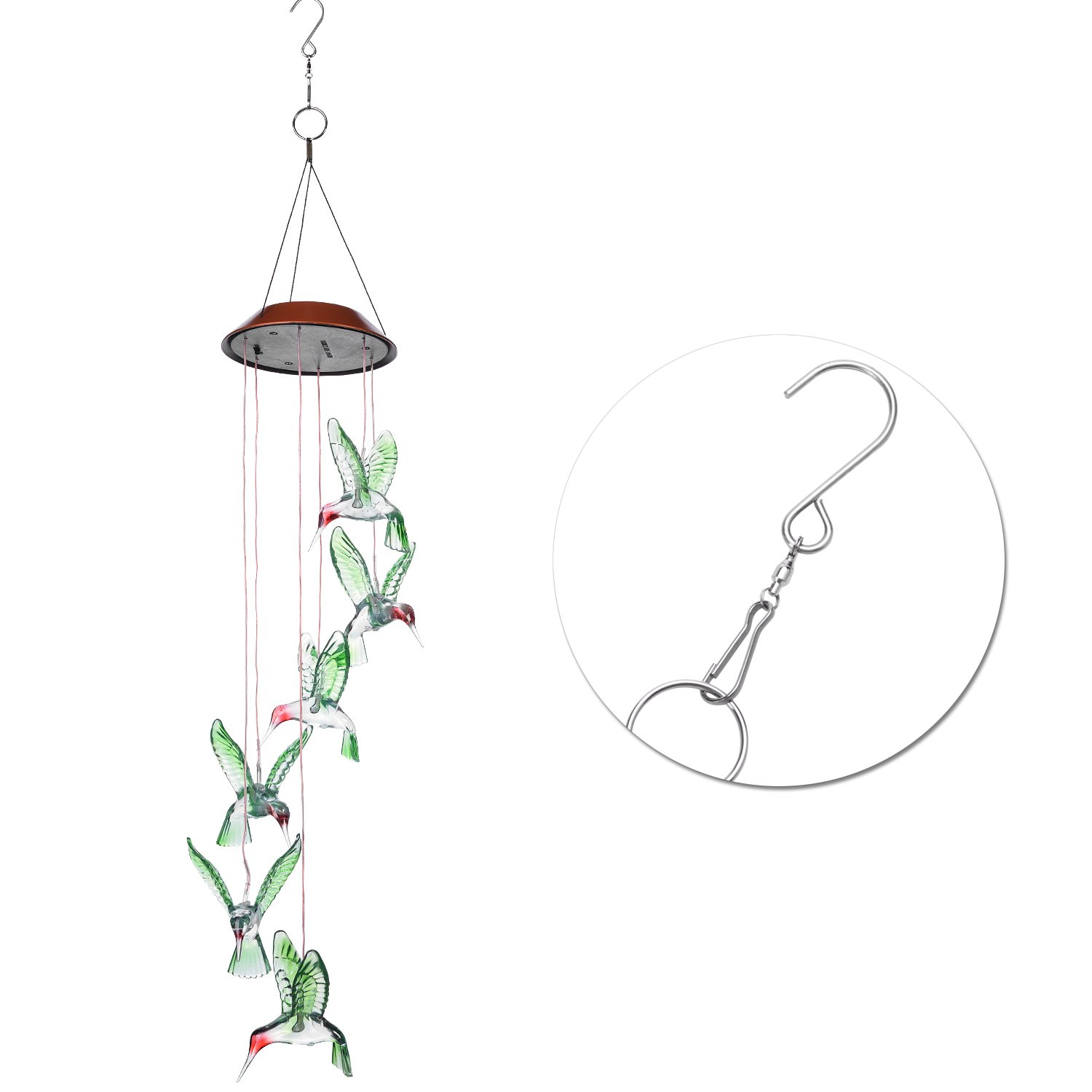 AGPtek Color-Changing LED Solar Mobile Wind Chime, LED Changing Light Color Waterproof Six Hummingbird Wind Chimes for Home/ Party/ Night Garden Decoration