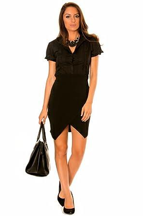 Camisa negra para mujer con mangas cortas : Amazon.es: Ropa