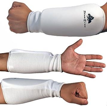 Fist Forearm Cloth Pads Pair Sparring Gear Guards Black White Karate Taekwondo