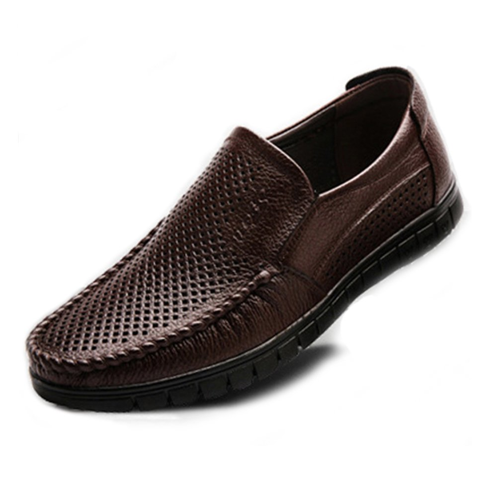 Chaussures Homme 2018, Chaussures pour Hommes Classiques en Cuir véritable Slip-on Flat Loafer Souple (Perforation en Option) (Color : Perforation Dark BN, Taille : 42 EU)