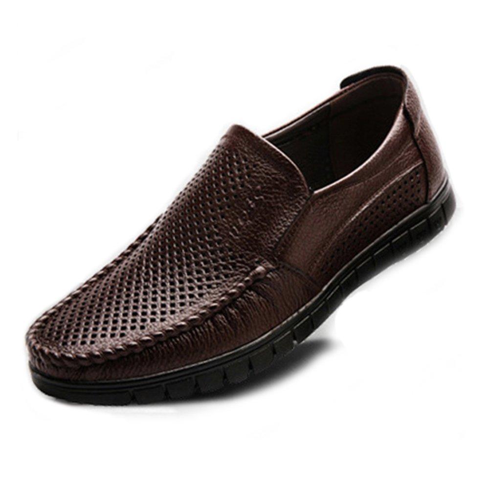 Sunny&Baby Zapatos de hombre clásico de cuero genuino Slip-on plana suave suela mocasín (Perforación opcional) Resistente a la abrasión (Color : Perforación oscuro BN, tamaño : 37 EU) 37 EU|Perforación Oscuro Bn