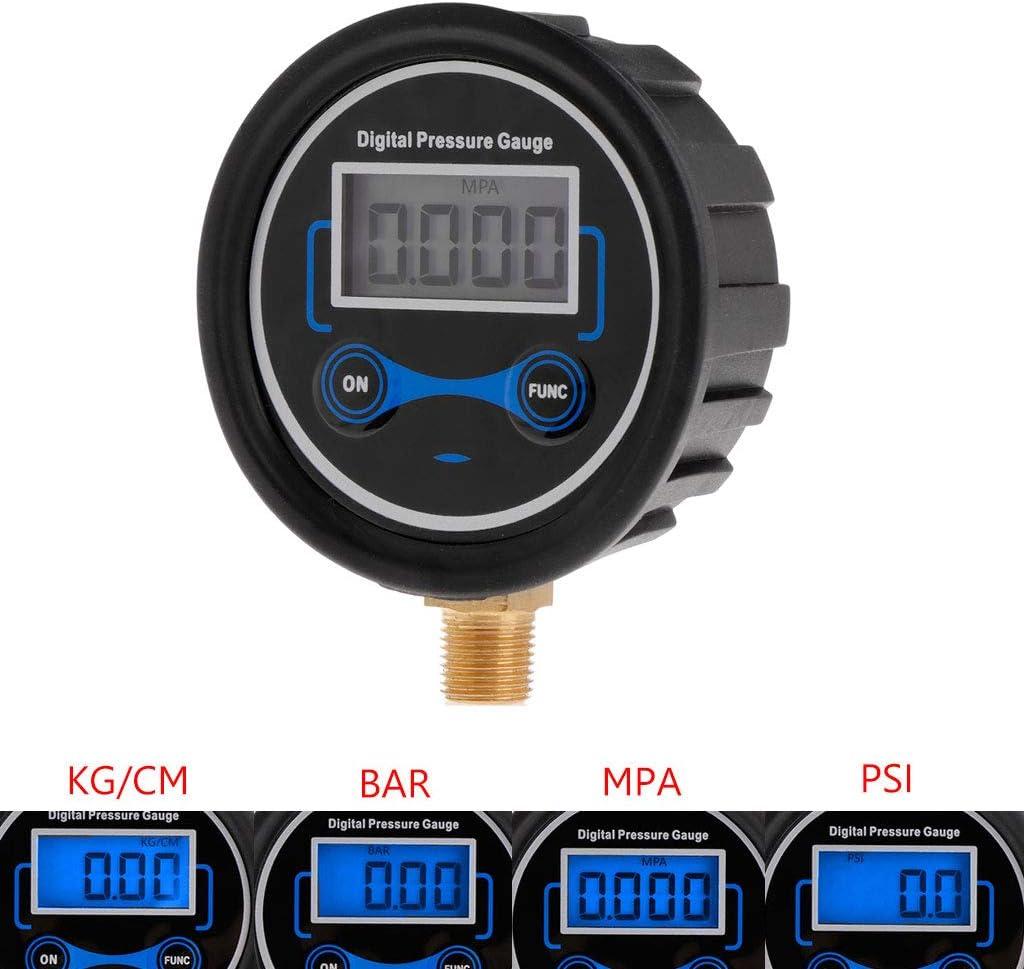siwetg Testeur num/érique de Pression de pneus pour Voiture v/élo Moto testeur de pneus Air PSI Meter 1//8 NPT