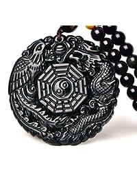 Natural Obsidian Dragon Phoenix the Eight Trigrams Pendant Amulet Peace Mascot