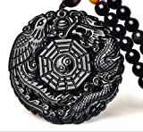 Natural Obsidian Dragon Phoenix the Eight Trigrams Pendant Amulet Peace Mascot