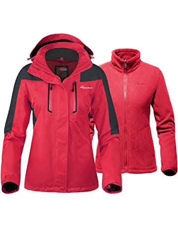 fb07438519 OutdoorMaster Women s 3-in-1 Ski Jacket - Winter Jacket Set with Fleece  Liner