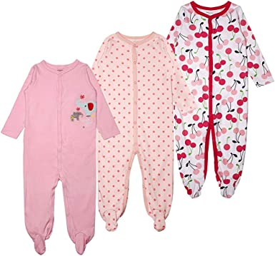 Baby Girls Footed Pajamas 3-Pack Cotton Infant Overall Sleeper and Play