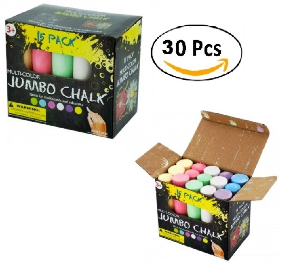 4'' Long Multi-Color Jumbo Chalk Set (Economy Pack of 30 Chalks) Erasable, Non-Toxic Chalk Sticks - Great For Chalkboard, Sidewalks, School, Art, Office & Home Use