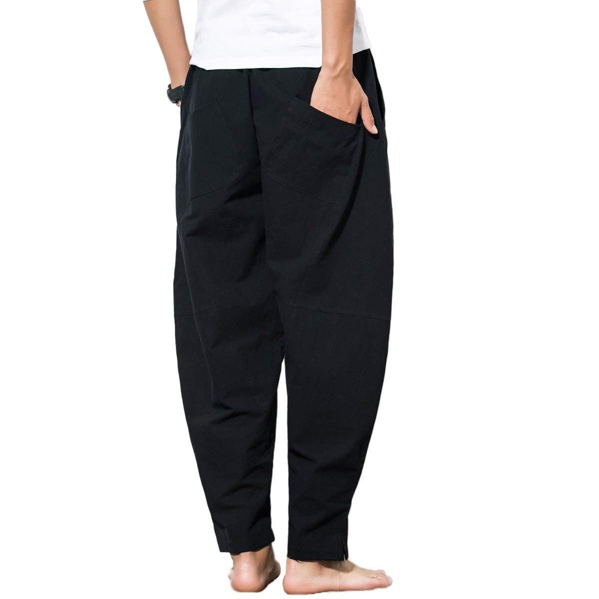 Capri Baggy Pantalones Lino Hombre Harem Tienew Casual Pantalón xPYZ4wPqO
