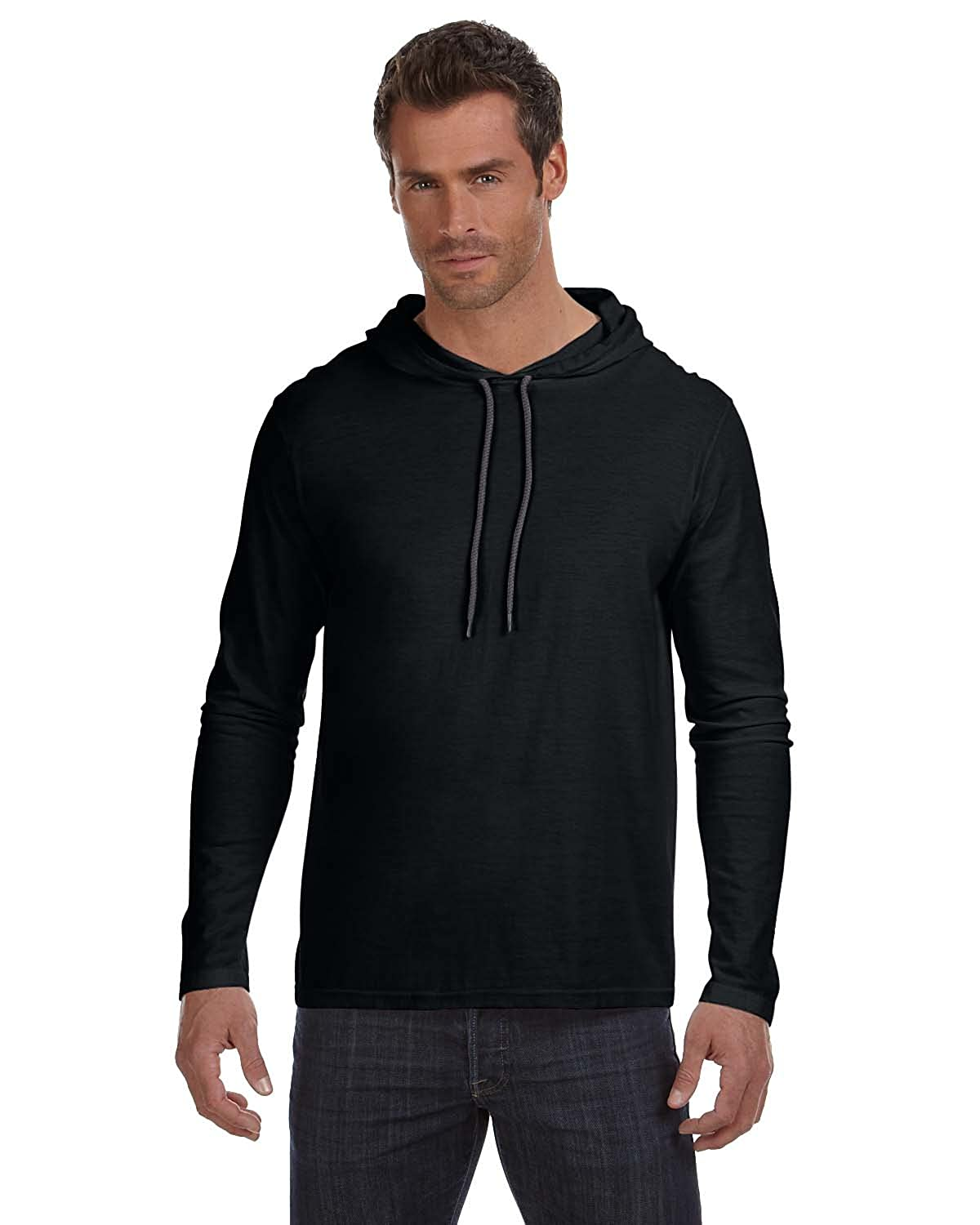 826339687 Anvil Lightweight Long-Sleeve Hooded T-Shirt at Amazon Men's Clothing store: