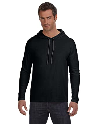 Amazon.com: Anvil A987Adult Lightweight Long-Sleeve Hooded Tee ...