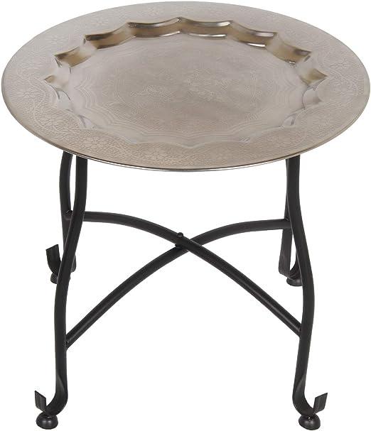 Casa Moro - Mesa de té oriental Safi, mesa auxiliar con bandeja de plata y estructura plegable