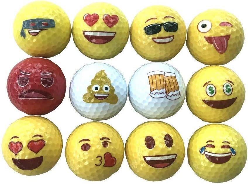 Lightahead 12 Emoji Golf Balls Gift Set,Fun Novelty,Practice or Play Golf Balls Best Gift for Family and Friends