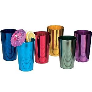 ALUMINUM TUMBLERS Retro Jewel Aluminum Colored Tumblers Cups Set of 6, Multicolor,