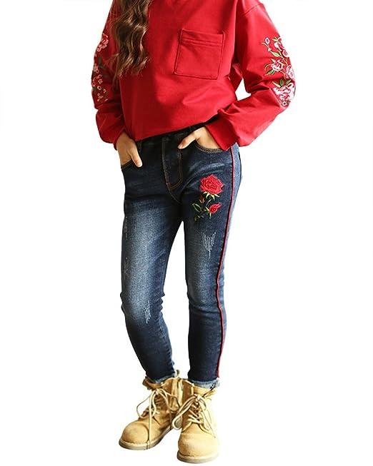 Qitun Niñas Vaqueros Chica Flores Bordado Slim Jeans ...