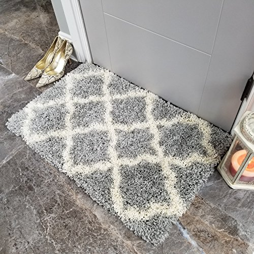 Maxy Home Bella Trellis Grey 1 ft. 8 in. x 2 ft. 7 in. Shag Door Mat (Trellis Door)