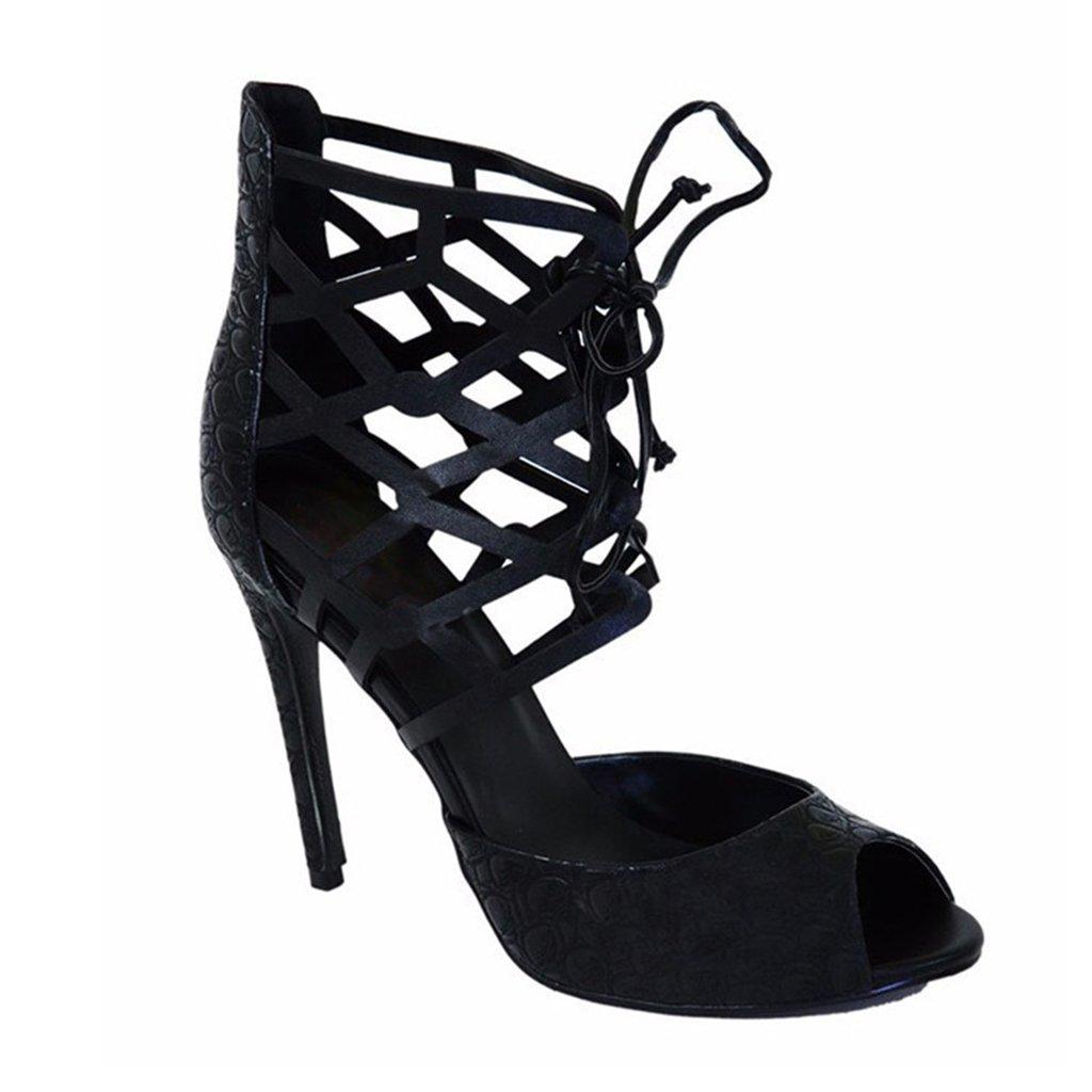 LYY.YY Zapatos Romanos Sandalias De Mujer Piel De Serpiente Boca De Pescado Bolsa De Tacones Altos con Las Punteras Abiertas Zapatos De Mujer (Altura del Tacón: 11-13Cm),Black,38 38|Black