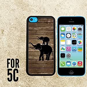 Elephant art on a wood Custom made Case/Cover/skin FOR Apple iPhone 5c - Black - Rubber Case + FREE SCREEN PROTECTOR ( Ship From CA)